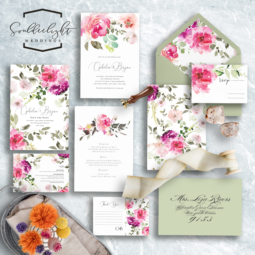 Printable Semi Custom Wedding Invitation Card Suite