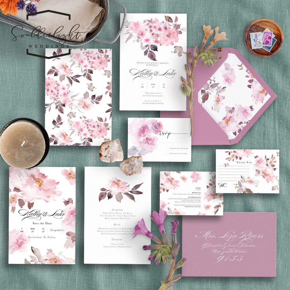 Semi Custom Wedding Invitation Card Suite