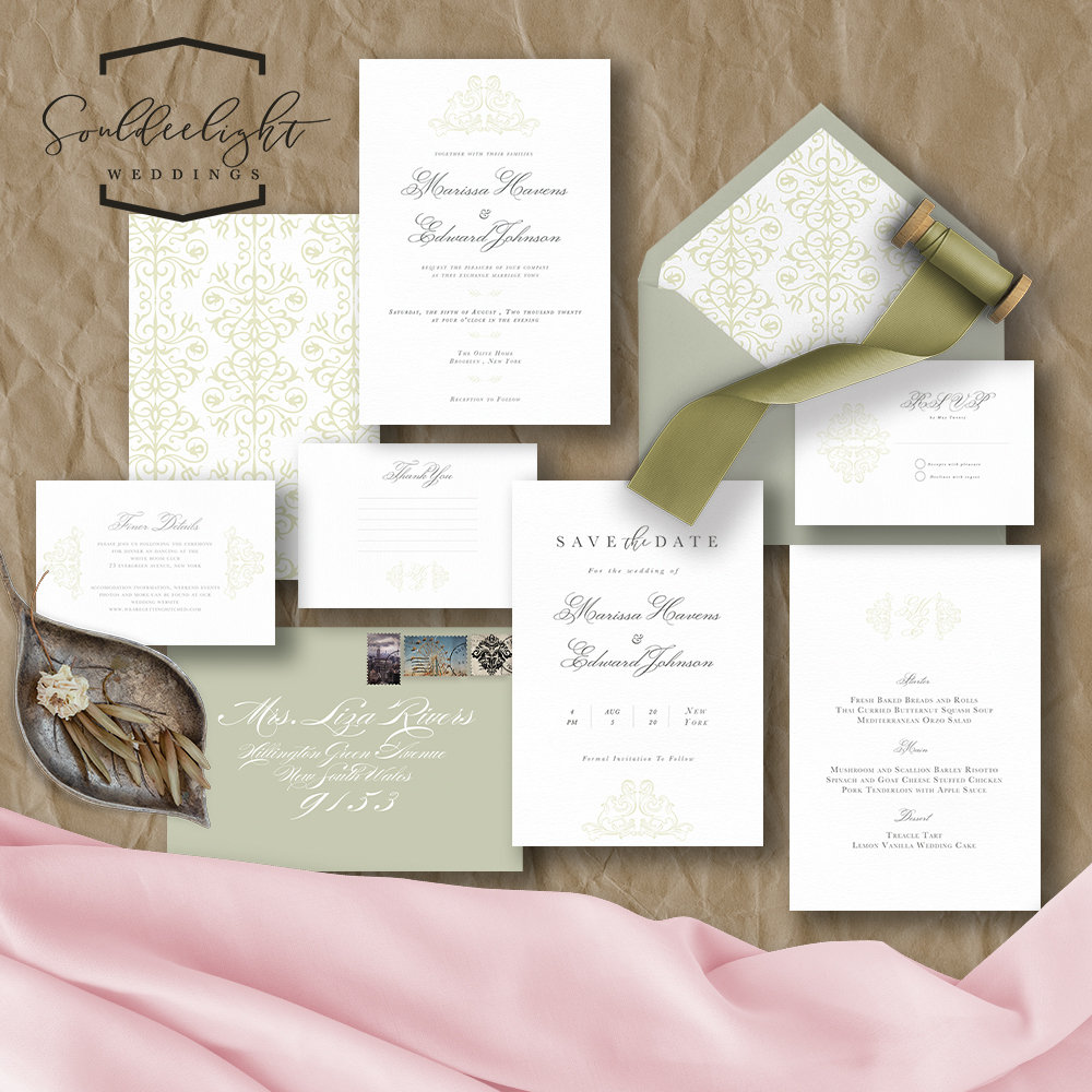 Wedding Invition Cards.Semi Custom Wedding Invitation Card Suite